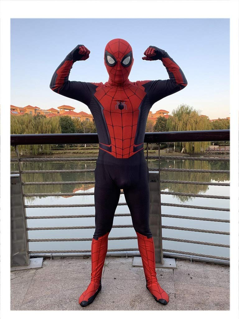GIFT ZHIZHUXIA Marvel Spiderman Cosplay Costume Adulto Elastico Tuta Attillata Costume Puntelli Costume Body Ufficiale Spiderman ( Colore   Nero , Dimensione   M )