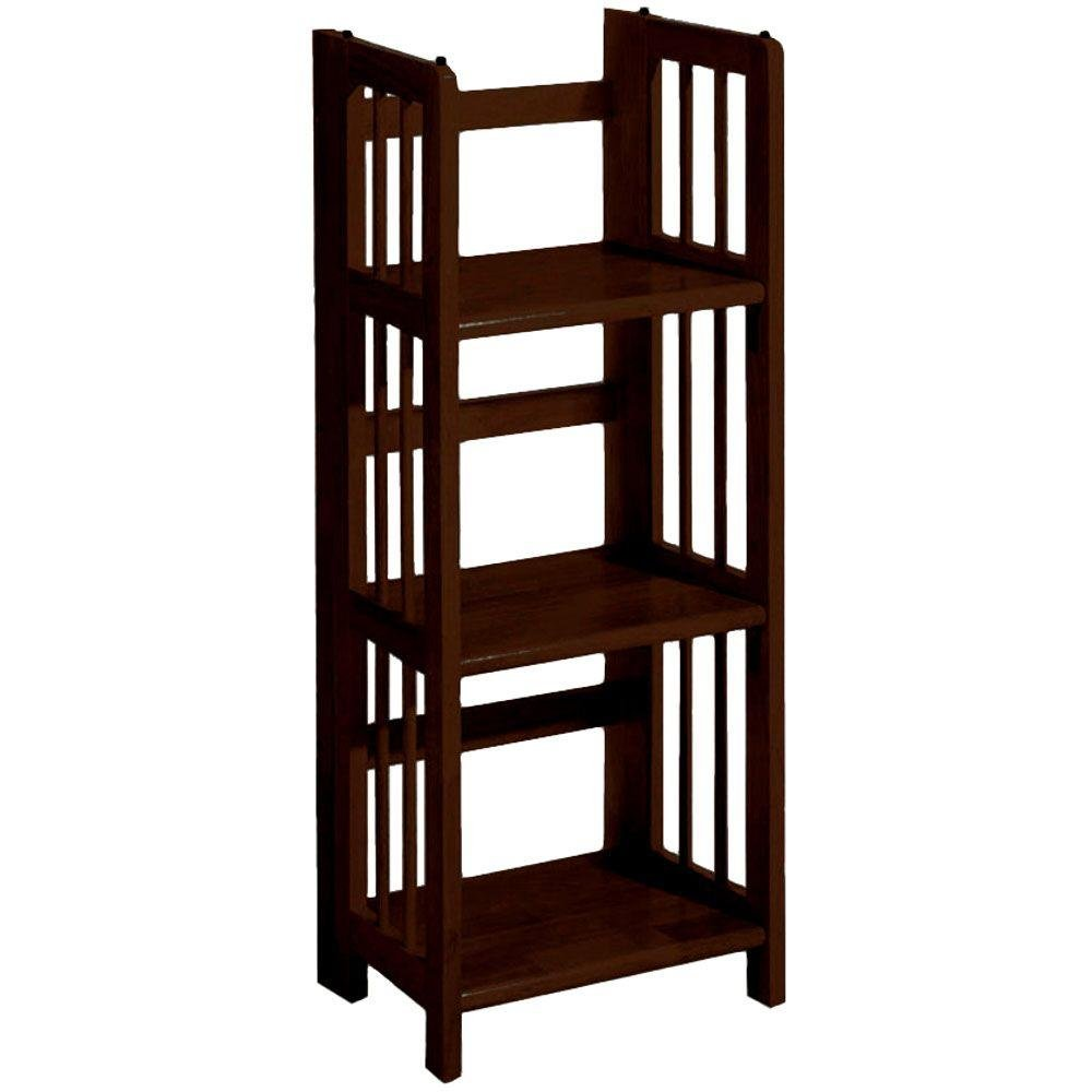 Mission Style 38 x 14 Inch White Folding Stacking Bookcase, 14 W, WHITE