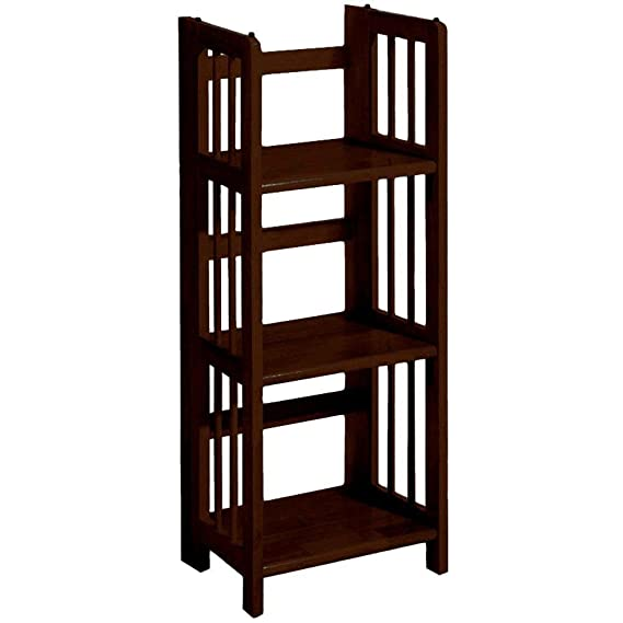 Mission Style 38 x 27.5 Inch Natural Folding Stacking Bookcase, 27.5 W, NATURAL