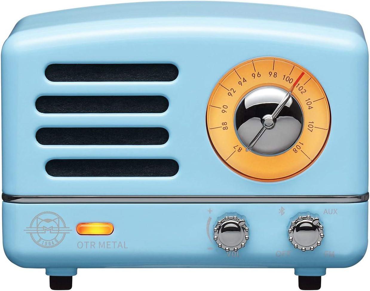 Muzen Portable Wireless High Definition Audio FM Radio Bluetooth Speaker, Metal Blue, Travel Case Included – Classic Vintage Retro Design