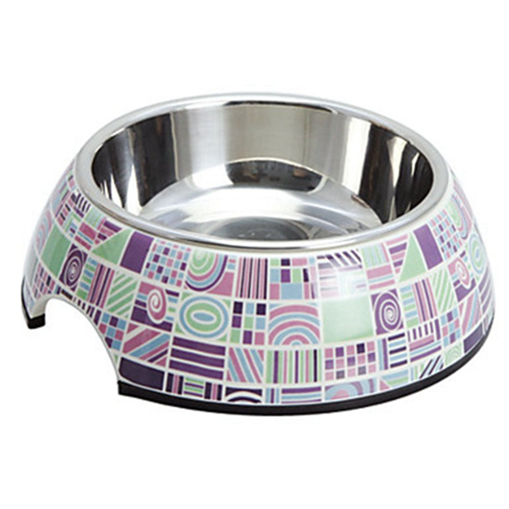 Quick Shopping™ Stylish Check Pattern Melamine Shell Pet Stainless Steel Food Bowl for Dogs Cats (S-XL)