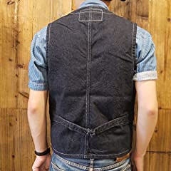 Sugar Cane 9 oz. Wabash Stripe Work Vest SC12654: Navy