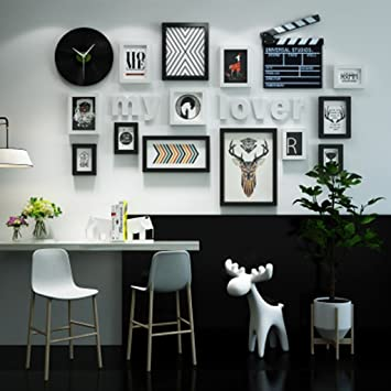 ZPQ Mur Photo, Nordic Horloge Murale Combinaison Photo Mur Photo Cadre Mur  Canapé TV Fond