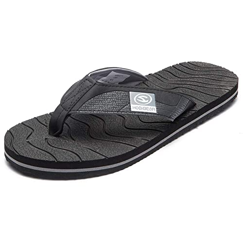 04953a1102f2f7 HOBIBEAR Men Flip Flop Thong Sandals Comfort Lightweight Slippers(A-Black)