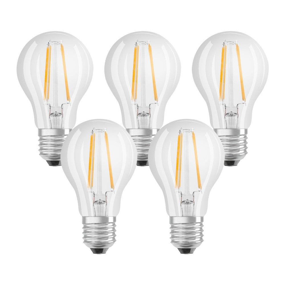 Osram LED Base Classic A Lampe, in Kolbenform mit E27-Sockel, nicht dimmbar, Ersetzt 60 Watt, Filamentstil Klar, Warmweiß - 2700 Kelvin, 2er-Pack Ledvance 4052899972018