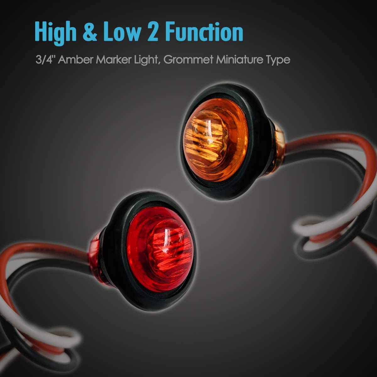 TCTAuto 3//4 LED Multi Utility Marker Light Rubber Grommet Miniature Type with 3 Wire Dual Function High /& Low Brightness Pack of 5 Red /& 5 Amber