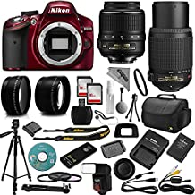 Red Nikon D3200 DSLR Camera + 18-55mm and 55-200mm AF-S DX VR + 32GB Memory + 2.2X Telephoto and 0.43X Macro Lense Kit + Bounce Swivel Flash + Tripod + Padded Bag + UV CPL FLD Filter Bundle + Remote