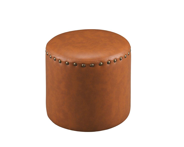 Nailhead Trim Upholstered Round Stool Ottoman (Brown)