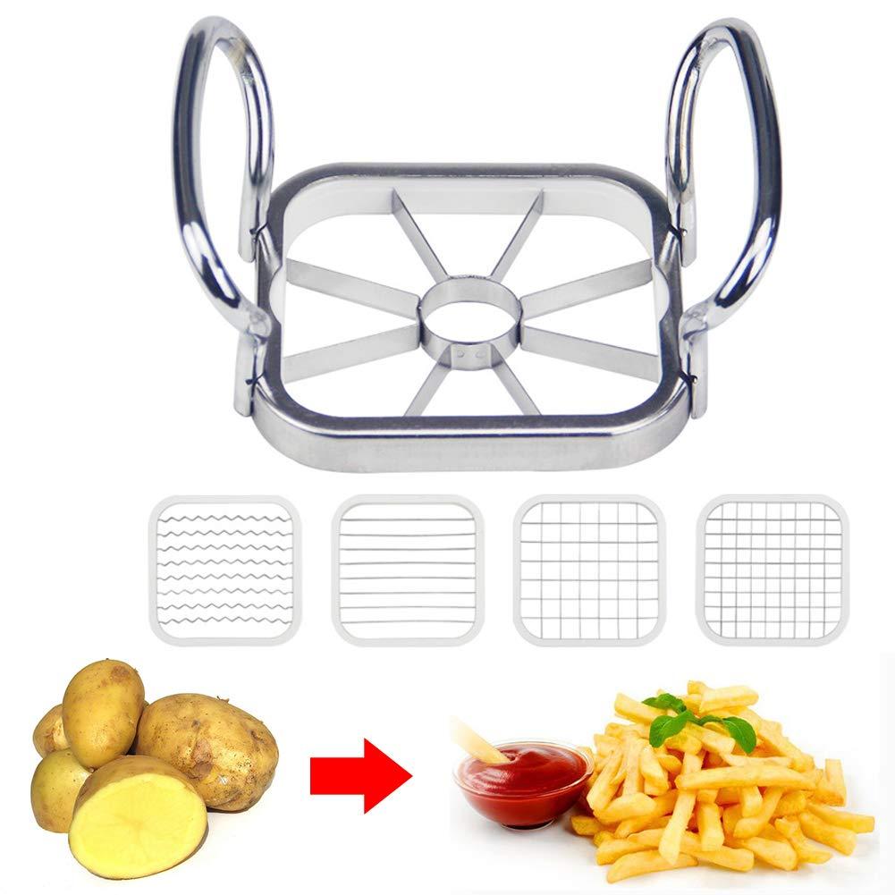 5pcs\Set Stainless Steel Apple Cutter Slicer Vegetable Fruit Apple Pear Potato Chips Manual Strip Chopper Kitchen Tools Tubwair