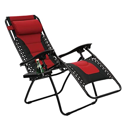 Beau PHI VILLA Padded Zero Gravity Lounge Chair Patio Foldable Adjustable  Reclining With Cup Holder For Outdoor