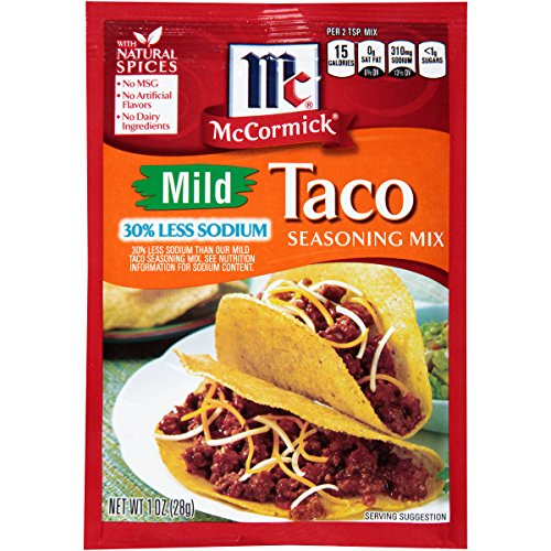 Seasoning Mild (McCormick Mild 30% Less Sodium Taco Seasoning, 1 oz, All the Delicious Flavor, 1/3 Less Salt, Perfect for Low Sodium Diets, Now You Can Have Taco Night Without The Guilt)