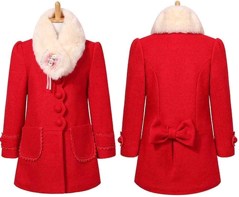 Merryway Girls Elegant Faux Fur Woolen Collar Fashion Warm Blended Winter Coat Lace Flower Princess Bowknot Jacket 3-10Y
