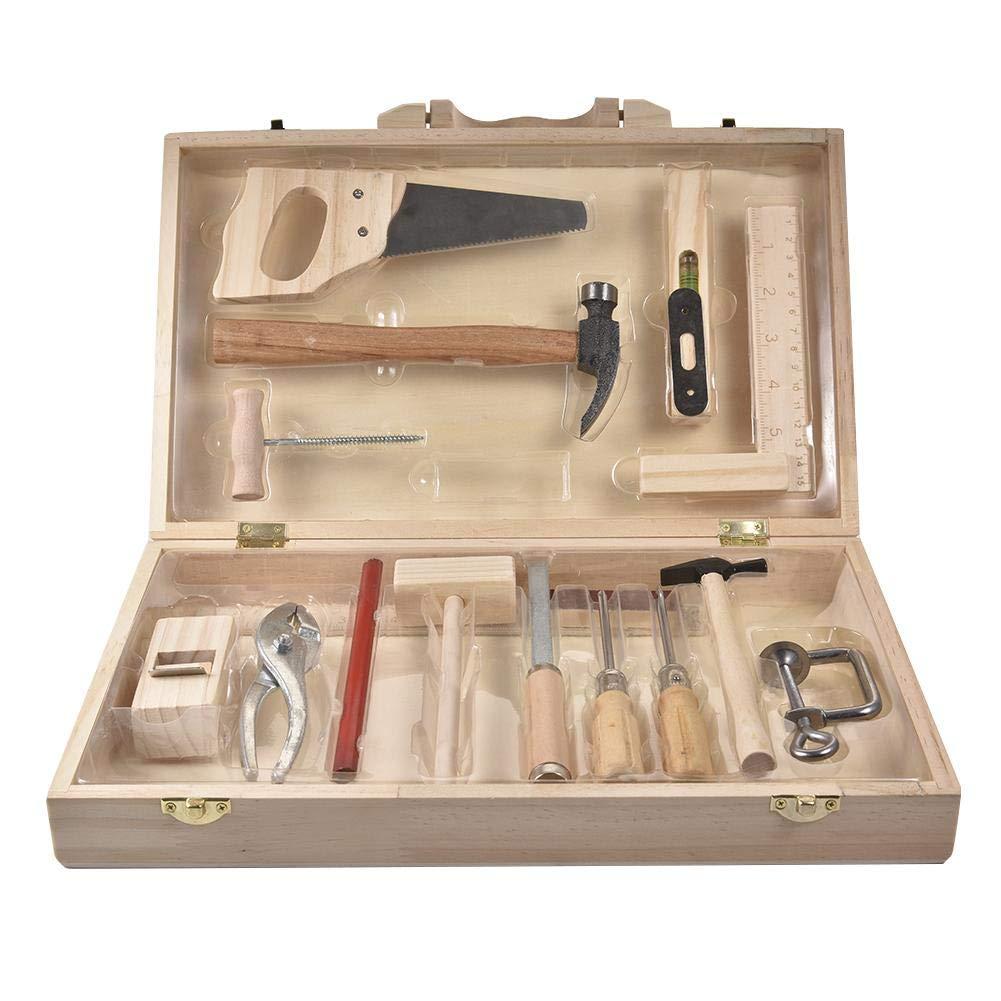 Millster Werkzeugkoffer Kind Werkzeugkoffer Kind ,Multifunktionaler Holzbearbeitungs Werkzeugkasten Aus Holz F/ür Kid