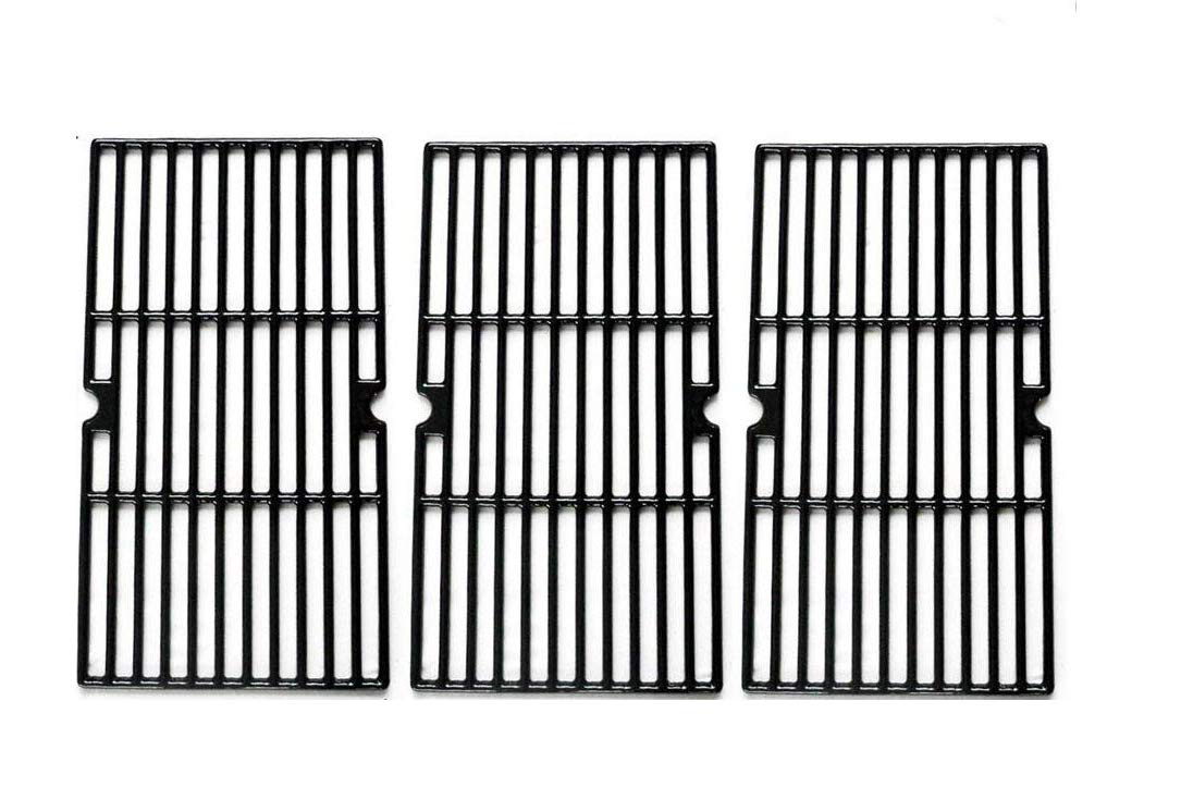BBQration Matte Cast Iron Cooking Grid Replacement for Select Gas Grill Models by Charbroil, Kenmore and Others, Set of 3