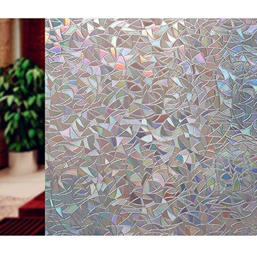 ZITFRI 3D Fensterfolie Sichtschutz / Sonnenschutzfolie , Folienmaß 45 x 200 cm Selbstklebende Folie ohne Klebstoffe selbsthaftende Dekofolie Anti-UV