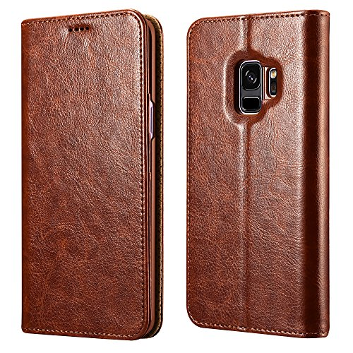 Galaxy S9 Wallet Case, XOOMZ Vegan Leather Folio Flip Cover with Kickstand and Credit Card Slots for Samsung S9 (2018) 5.8 Inch (Brown)