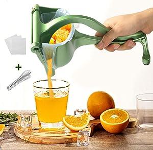 YAUNGEL Manual Metal Fruit Juicer, Portable Fruit Press Lemon Squeezer, Hand Squeezer Fruit Juicer Citrus Steel Juicer Extractor Tool-20 Filter Bags Included(Green)