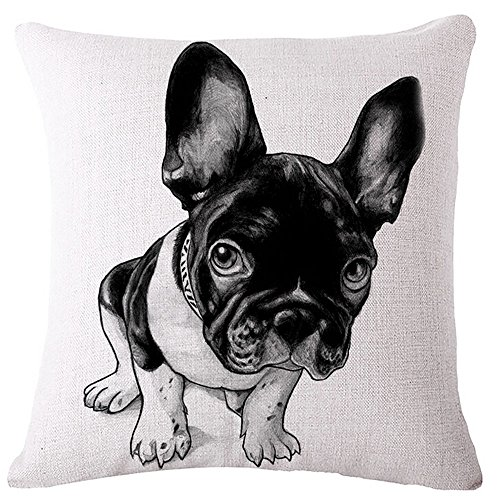 Diorama 17.717.7 Inch (4545 cm) Cotton Linen Square Personalized Decorative Throw Pillow Case Cushion Cover Lovely French Bulldog Series Cushion Covers Pillow Cases (#002)