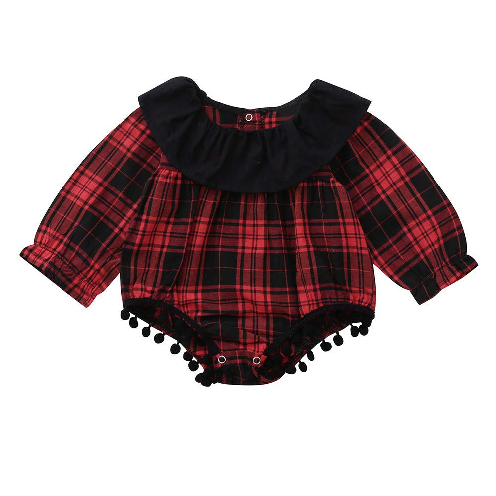 Baby Girl Romper,Fineser Adorable Toddler Kids Baby Girls Long Sleeves Plaid Ruffles Jumpsuit Romper Clothing