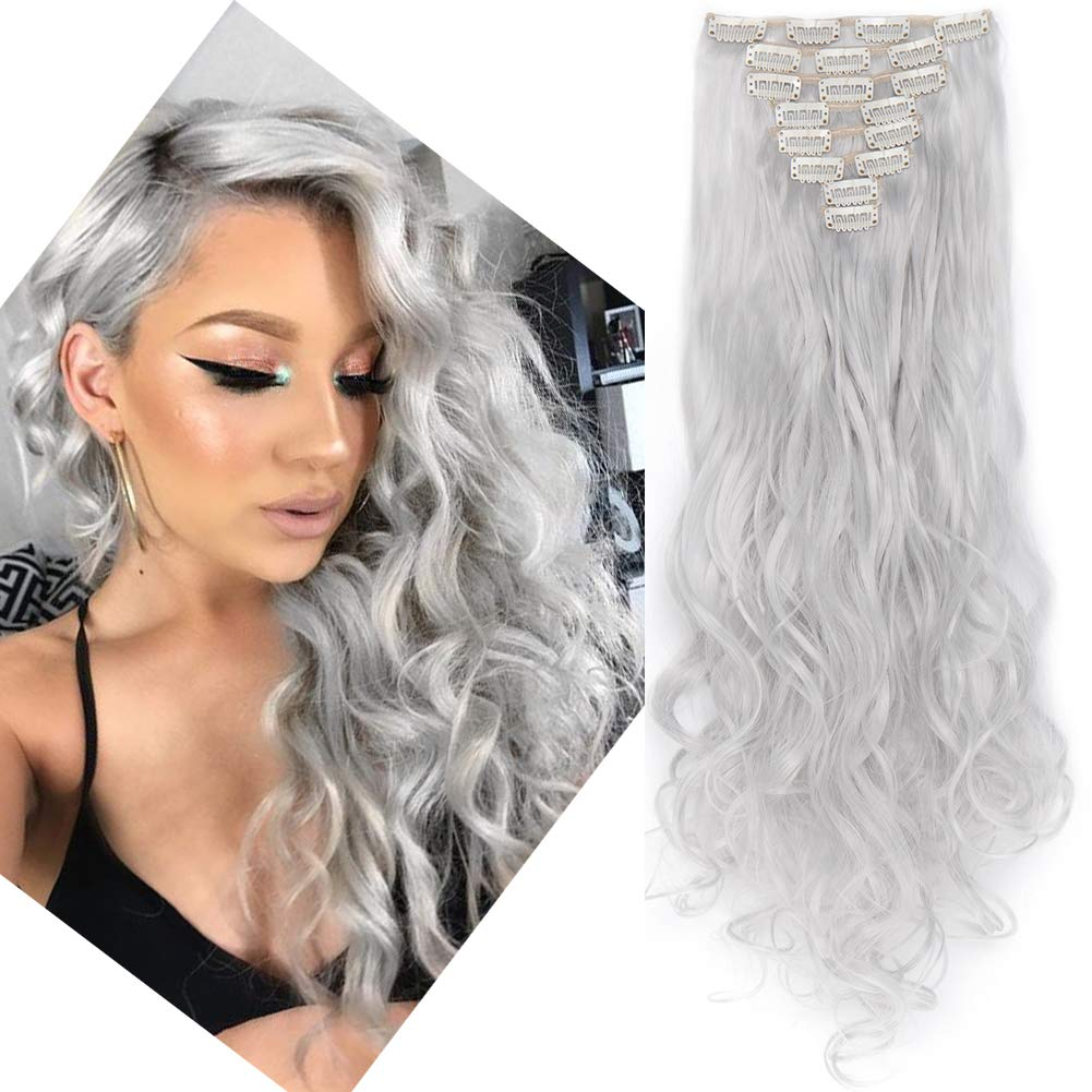 Clip in Hair Extensions 8 PCS 18 Clips 145G Thick Straight Curly Full Head Real Natural Synthetic Fibre Hairpiece 60 colors for Women Lady Girls(24 inch,silver grey-curly)