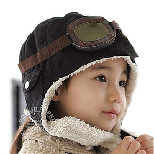 cec079d07be Korean Children s Unisex Aviator Hat Baby Glasses Cap Winter Air Force Cap  20.5 quot  ...