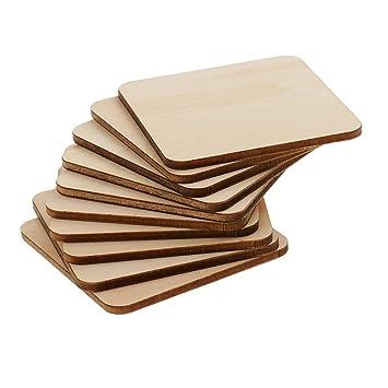 Sharplace Piezas de Madera Inacabada Elegante en Forma de Cuadrado Ideal para Artesanías de Pirograbado de DIY - Natural, 60x60mm 10 piezas: Amazon.es: ...