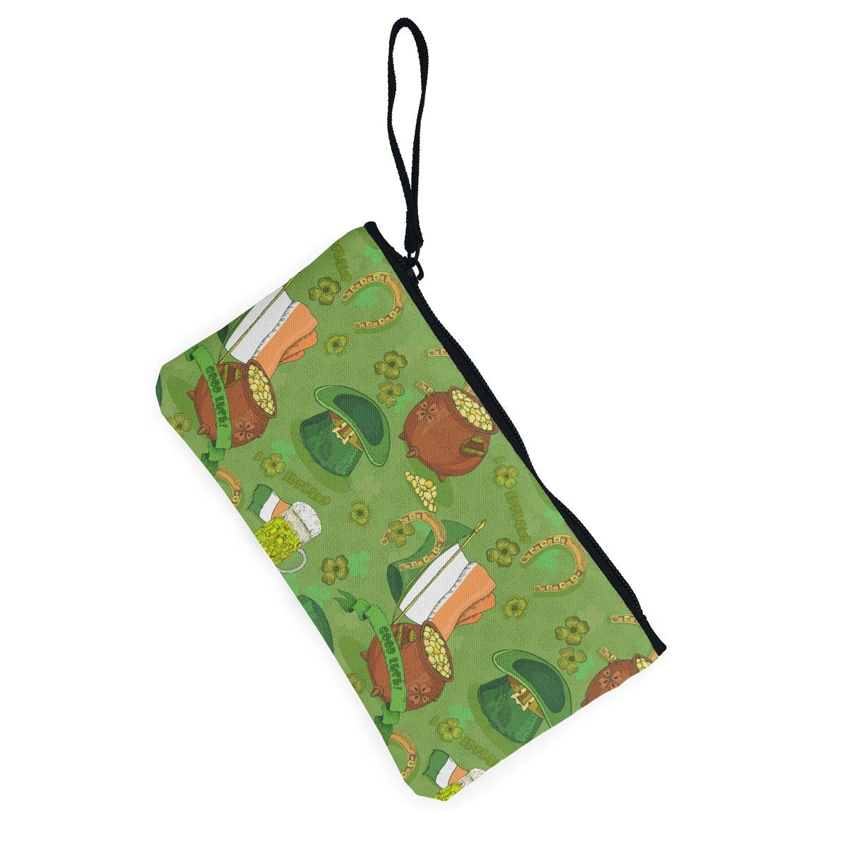 Patricks Day Irish Pattern Canvas Coin Purse Cute Change Pouch Wallet Bag Multifunctional Cellphone Bag with Handle St