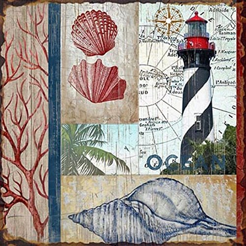 St. Augustine Lighthouse Metal |Coastal Collage Artwork