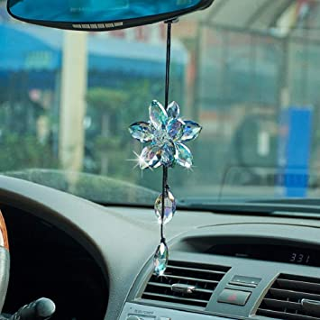 Crystals Car Pendants Lucky Hanging Rearview Mirror Pendant Car Decor Ornament