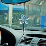Crystal Flower Car Rear View Mirror Pendant Car Hanging Ornament Lucky Car Accessories (Colorful)