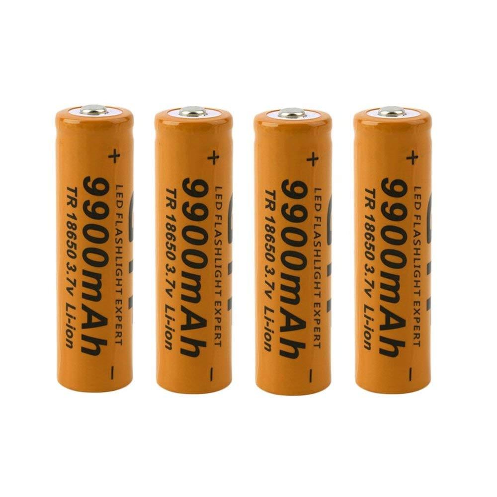 4 pcs Red Shell AA 3.7V 18650 9900mAh Rechargeable Li-ion LED Battery Safe Environmental Friendly for Flashlight Erduo