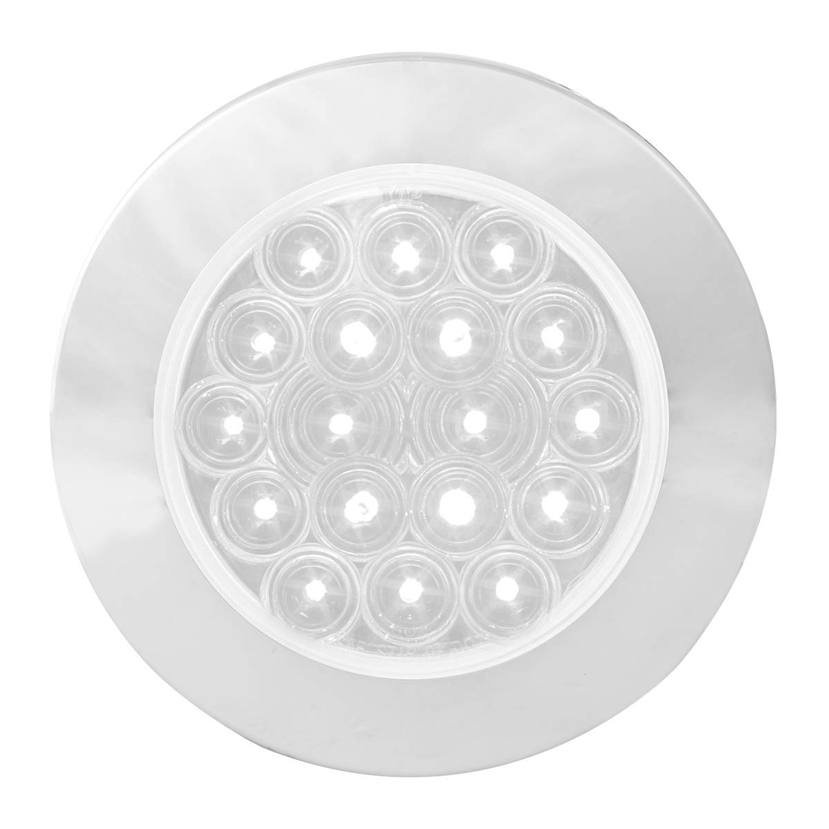GG Grand General 75874 LED Light (4'' Fleet White/Clear 18 Flange Mount with Bezel, 3 Prong)