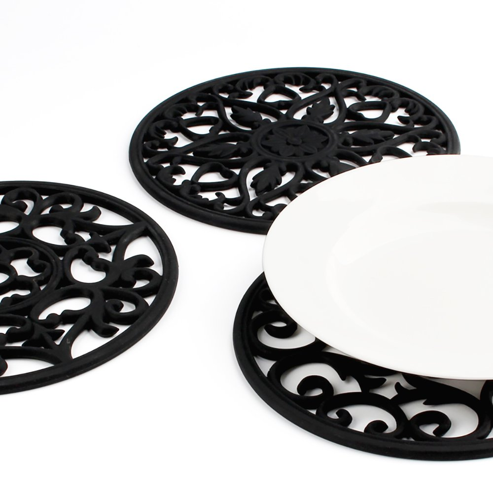ME.FAN 3 Set Silicone Multi-Use Intricately Carved Trivet Mat - Insulated Flexible Durable Non Slip Coasters (Black) by ME.FAN (Image #2)
