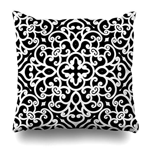 Ahawoso Throw Pillow Cover Swirl Geometric Black White Swirly Abstract Pattern Floral Filigree Stencil Flower Damask Design Decorative Pillowcase Square Size 18