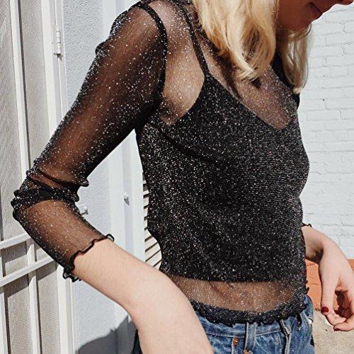 Yiiquan Manche Tops Shirt 1 Longue Blouse Tunique Noir Mesh Femmes Chemise Transparent Sheer rqBrxa1