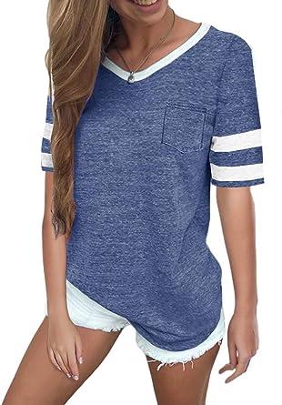 Yesgirl Verano Patrón del Corazón Camiseta De Manga Corta para Mujer Raya Casual Loose Shirt Tops Cuello En V Blusa Camiseta