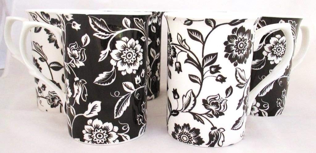 Verona Black & White Mugs Fine Bone China Mugs (Set of 6) Hand Decorated in the U.K. FREE UK Delivery