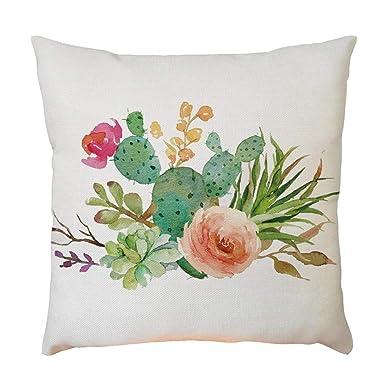 Fundas de Cojines 45X45 - Vintage Patrón de planta Mezcla de lino Cuadrada Funda de almohada Para Sofa Decorativa