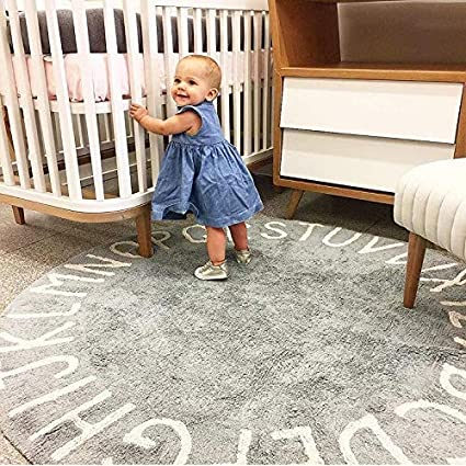 Very Soft Kids Alphabet Rug Educational Area Rugs for Infant Toddlers Nursery Learning /& Game Classroom Rugs ABC Rugs for Kids Mojesse 100/% Cotton Kids Round Nursery Rug 4ft for Boys and Girls