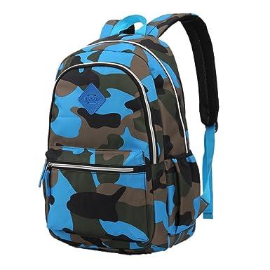 Nylon Elementary School Backpacks Camouflage Kids School Bag (Blue d140c3b5765bc