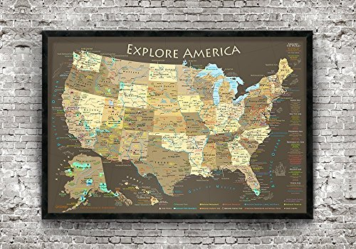 National Parks Push Pin Map - Brown Edition - Medium Sized Framed Map by GeoJango