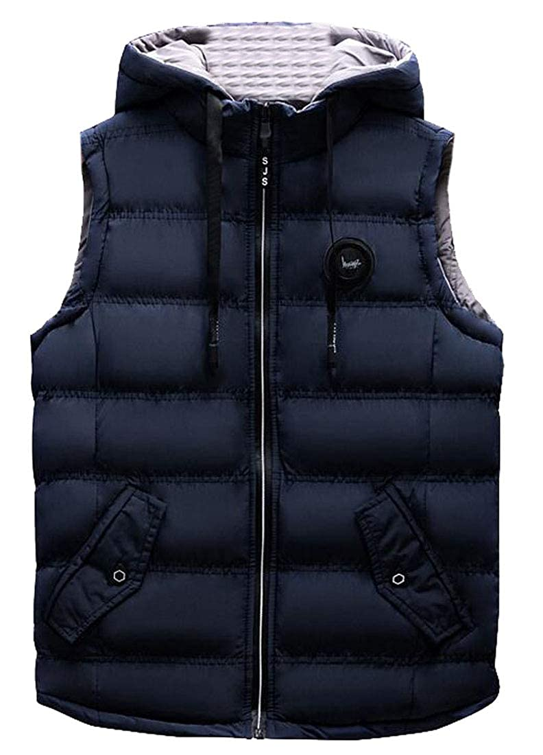 FSSE Mens Hooded Thick Sleeveless Winter Down Vest Quilted Puffer Vest Jacket Outwear