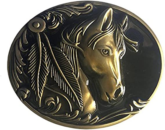 horse5 LKMY Fashion Mens Womens Vintage Native 3D Horse Belt Buckle,Western Cowboy Oval Scroll Belt Buckle