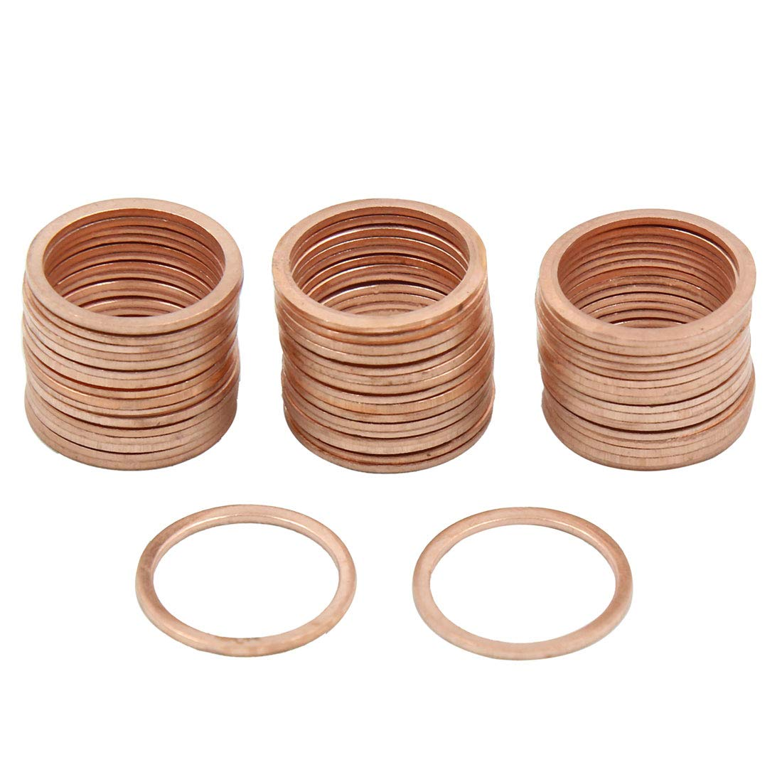 X AUTOHAUX 17mm Inner Dia Copper Crush Washers Flat Car Sealing Gaskets Plate Rings 50pcs