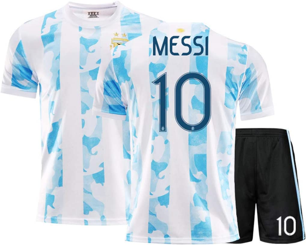 AJSYPD Fan Fu/ßballuniform Fu/ßball Trikot #10 Messi Argentina Home 2020-2021 Neue Saison Kinder//Jugendliche//Erwachsene T-Shirts Shorts