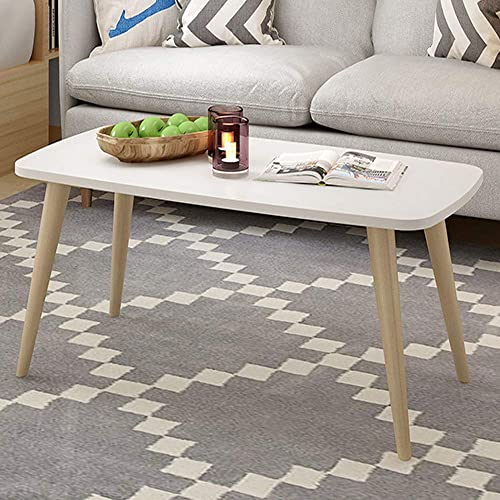 Allywit Tables Nordic Style Coffee Table Simple and Modern Small and Medium-Sized Fashion Coffee Table Rectangular Arc Table Solid Wood Tables 39.3719.68 Inch White