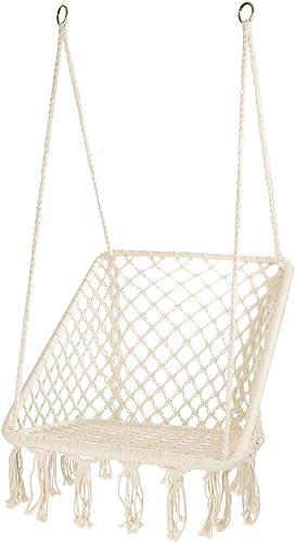 CCTRO Hammock Chair Macrame Swing,Boho Style Rattan Chair Hanging Macrame Hammock Swing Chairs