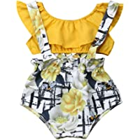 YOUNGER TREE Newborn Toddler Baby Girls Summer Outfits Yellow Ruffle Tube Top + Floral Suspender Shorts Set Overall Clothes Kids