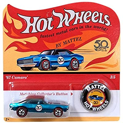 Hot Wheels 2020 50th Anniversary Originals 3/5 - '67 Camaro (Blue) with Button: Toys & Games