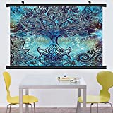 Gzhihine Wall Scroll Ethnic Grunge Style Tree Pattern with Ethnic Mandala and Spiral Shapes Blurry Artwork Wall Hanging Turquoise Brown 28''x14''